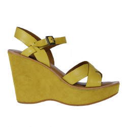 YELLOW LEATHER AND SUEDE SANDAL WITH WEDGE