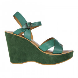 GREEN LEATHER AND SUEDE SANDAL WITH WEDGE