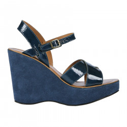 BLUE LEATHER AND SUEDE SANDAL WITH WEDGE