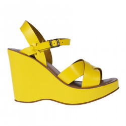 YELLOW LEATHER SANDAL WITH WEDGE