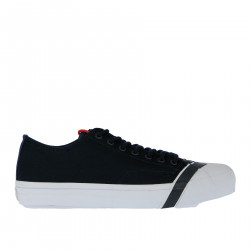 BLUE CANVAS SNEAKER WITH CONTRASTING SOLE