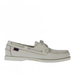 WHITE SUEDE BOAT SHOE