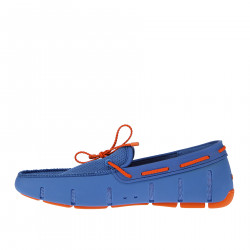 LIGHT BLUE LOAFER  WITH ORANGE LACES