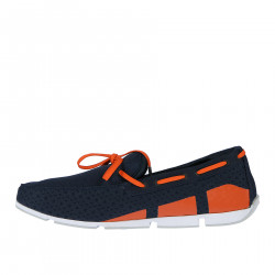 BLUE FABRIC LOAFER WITH ORANGE INSERTS