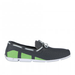 GREY FABRIC LOAFER WITH GREEN INSERT