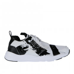 WHITE FABRIC AND LEATHER SNEAKER WITH BLACK BRUSH STROKES