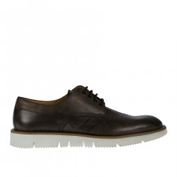 DARK BROWN SOF EFFECT LEATHER LACE UP SHOE WITH CONTRASTING SOLE