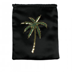 BLACK SATIN BAG WITH DECORATION
