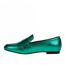 METALLIC GREEN LEATHER LOAFER