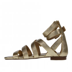 GOLD LEATHER FLAT SANDAL WITH BANDS