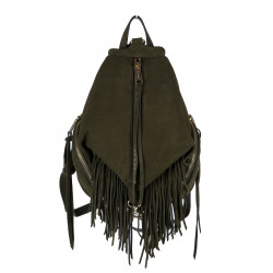 GREEN SUEDE BACKPACK WITH FRINGES