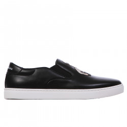 SLIP ON NERO IN PELLE