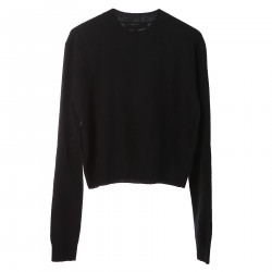 BLACK WOOL AND CASHMERE SHORT SWEATER