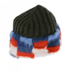 GREEN WOOL BONNET WITH FUR INSERTS