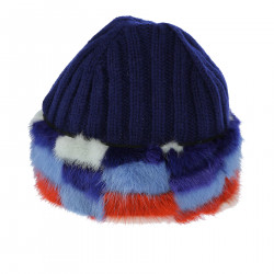 BLUE WOOL BONNET WITH FUR INSERTS