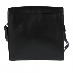 BLACK LEATHER SHOULDER BAG WITH ELEVATION LOGO