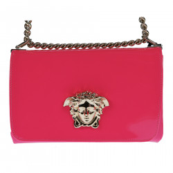 FUCSIA PATENT LEATHER SHOULDERBAG WITH GOLD ELEVATION LOGO