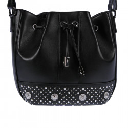 BLACKLEATHER HANDBAG WITH STUDS AND ELEVATION LITTLE LOGO