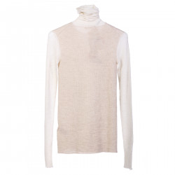 WHITE LONG SLEEVES SHIRT WITH HIGH NECK
