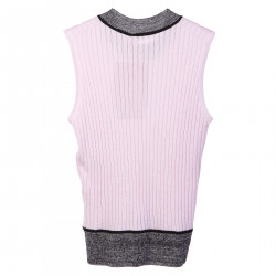 GREY AND PINK CASHMERE GILET