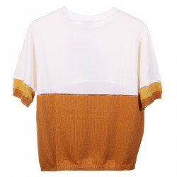 WHITE AND BEIGE T SHIRT WITH TRASPARENCIES