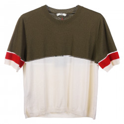 WHITE AND GREEN T SHIRT WITH TRASPARENCIES