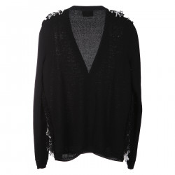 BLACK AND WITHE CARDIGAN WITH V NECK