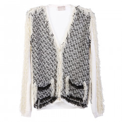 WHITE CARDIGAN WITH BLACK DETAILS