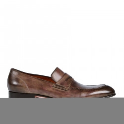 SHADED BROWN LEATHER MOCASSIN
