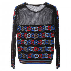 BLACK LONG SLEEVES SHIRT WITH COLORED FLOWER FANTASY