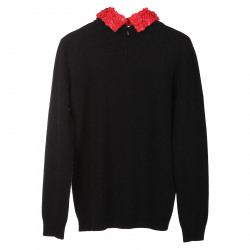 BLACK LONG SLEEVES SHIRT WITH RED COLLAR