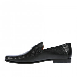 BLACK LEATHER MOCASSIN