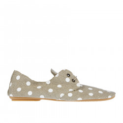 BEIGE FABRIC POLKA DOTS LACE UP SHOE