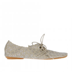 BEIGE FABRIC LACE UP SHOE WITH SILVER FLOWERS