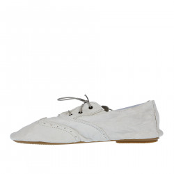 WHITE SOFT LEATHER LACE UP SHOE
