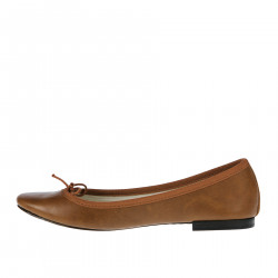 BROWN LEATHER FLAT SHOE