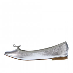 SILVER LEATHER FLAT SHOE