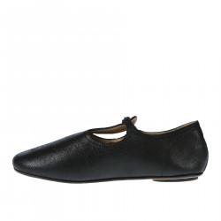 BLACK LEATHER FLAT SHOE WITH BUCKLE