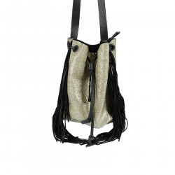 GOLD BUCKET BAG WITH FRINGES
