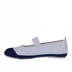 WHITE AND BLUE RUBBER FLAT SHOE