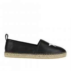 BLACK LEATHER ESPADRILLAS