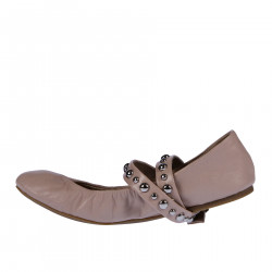 PINK FLAT SHOE WITH STUDDED LACE