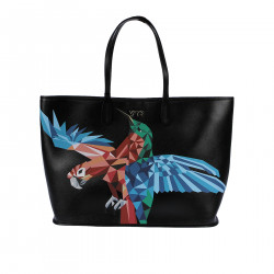 BLACK HANDBAG WITH PRINTED PARROT