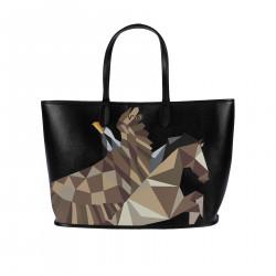 BLACK HANDBAG WITH PRINTED EAGLE