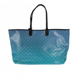 BLUE AND GREEN LEATHER HANDBAG