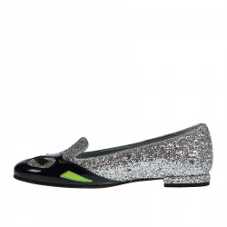 SILVER GLITTER AND PATENT LEATHER LOAFER