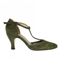 GREEN SUEDE DECOLLETE WITH ANKLE BELT