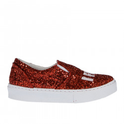 RED GLITTER SLIP ON WITH CONTRASTING SOLE