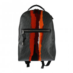 GREY LEATHER BACKPACK WITH ZIP