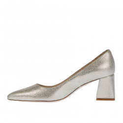 GOLD SUEDE DECOLLETE WITH SQUARE HELL